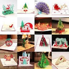 christmas cards sale hot sale 3d pop up party card peacock design christmas postcard new
