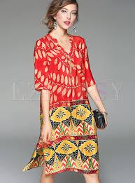 shift dress ethnic v neck print silk shift dress ezpopsy