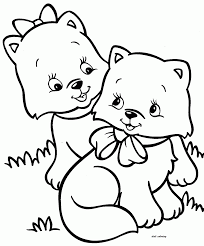 printable two little kitten friends for coloring didi coloring page