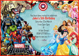 Party Invitations With Rsvp Cards Personalised Boys Birthday Party Invitations Disney Princess Super