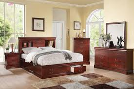 Storage Beds Queen Size With Drawers Bedroom Item Louis Philippe Iii Cherry Finish Queen Size Bed Is