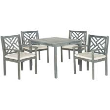 Safavieh Dining Room Chairs by Safavieh Bradbury Ash Gray 5 Piece Patio Dining Set With Beige