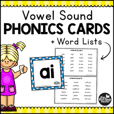 words cards vowel sound phonics cards word lists this reading