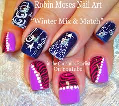 blue and white nail polish designs