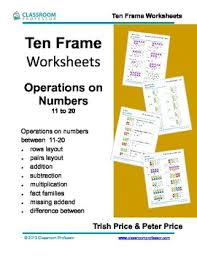 ten frame worksheets addition subtraction and multiplication of