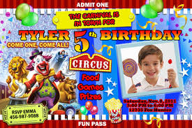 circus carnival photo birthday invitation party digital file