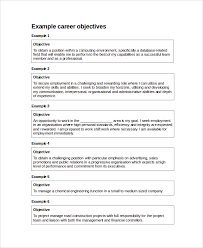 Sample Resume Job Objectives by Resume Objective Example 10 Samples In Word Pdf