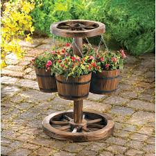 Western Outdoor Designs by Wagon Wheel Barrel Flower Planter Rustic Western Outdoor Garden