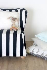 Black And White Striped Chair by A Striped Slipcovered Chair
