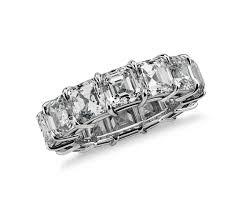 asscher cut diamond engagement rings asscher cut diamond eternity ring in platinum 10 ct tw blue nile