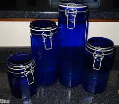 cobalt blue glass vintage kitchen canisters matching set of 4 13