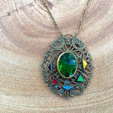 art glass necklace pendant images Shop vintage czech glass jewelry on wanelo jpg