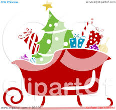 cartoon of a stencil styled santa sleigh with a tree and christmas