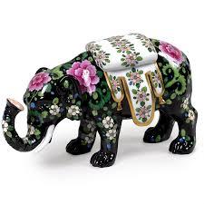 Porcelain Elephant by Dresden Porcelain Elephant With Floral Pattern Dresden Porcelain