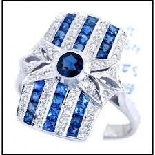 rectangle art deco ring style 18k white gold blue sapphire diamond