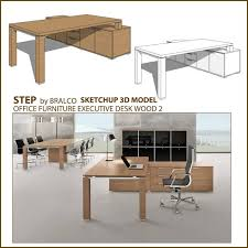 free sketchup 3d model office wood executive desk jet sketchup