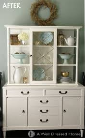 dated looking hutch cabinet painted white bookshelves