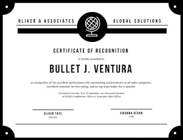 black and white bordered recognition certificate templates by canva