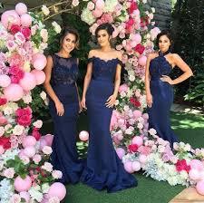mismatched navy lace mermaid bridesmaid dresses cheap long custom