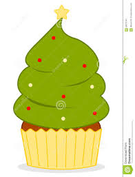 cute cartoon christmas tree cupcake illustration stock vector