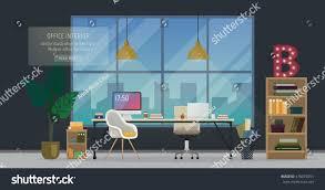 Desk Top Design Design Modern Office Designer Workplace Creative Stock Vector