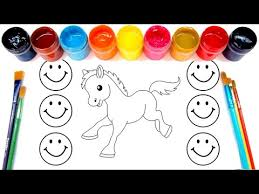 coloring for children to learn colors and paint this horse