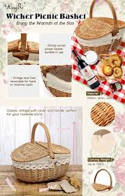 how to clean wicker baskets amazon com kingso wicker willow picnic basket shopping storage