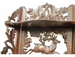 Blackforest Decor Wall Shelf Carved In The Black Forest Decorated With A Stag And
