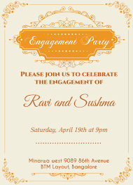 indian engagement invitation card with wordings check it out