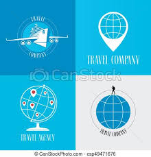 Traveling Agency images Set of travel agency vector logo emblem globe with pins plane jpg