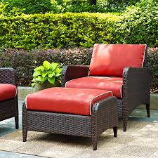 furniture dark brown wicker chair with ottoman and red