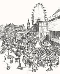 my drawing of the real food market on the southbank london