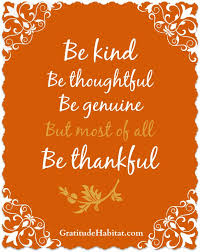 be thoughtful genuine and most of all thankful 8 x 10