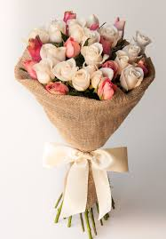 bouquet of roses pink chagne 30 roses bespoke bouquet