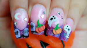 halloween 3d nail art cute purple glitter acrylic design kawaii
