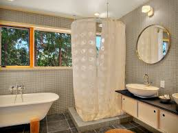 two shower curtains bathroom contemporary with red flush toilets