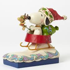 peanuts christmas characters jim shore peanuts snoopy santa with woodstock figurine dashing