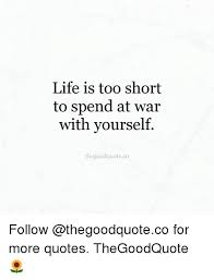 Meme Quotes About Life - life is too short to spend at war with yourself thegoodquoteco