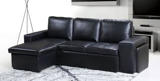 aspen bonded leather reversible double sofa bed with storage black