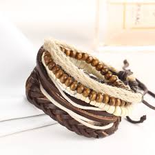 bracelet beads leather images Handmade ethnic tribal lovers multilayer leather rope beads braid jpg