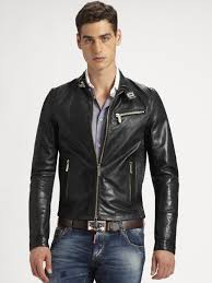 biker jacket men dsquared leather biker jacket in black for men lyst