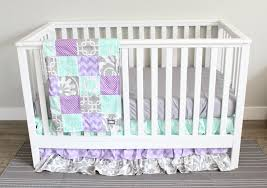 baby nursery bedding set lavender purple mint and gray