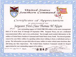 certificate of achievement home travel military appreciation