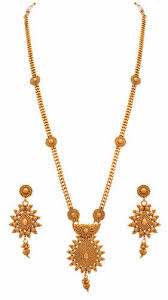 fashion jewellery necklace set images Casual wear and formal wear jfl one gram gold plated long jpg
