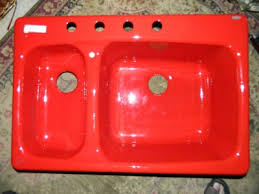 New Kohler Chili Pepper Red Cast Iron Double Bowl Kitchen Sink - Kohler double kitchen sink