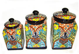 pottery kitchen canisters kitchen talavera canisters set item 101766