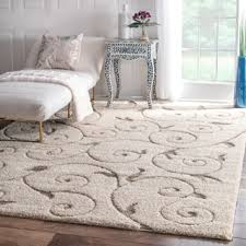Shop Area Rugs Nuloom Rug Collective Posh Ivory Vine Swirls Shag Area Rug Free