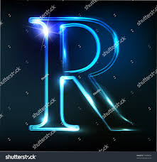 r for android glowing neon letter on background stock vector 70498102
