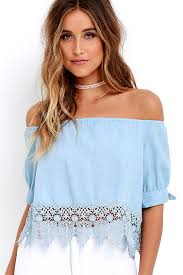 light blue off the shoulder top cute blue top chambray top off the shoulder top 48 00