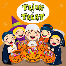 halloween kids cartoons five kids saying trick or treat with halloween pumpkin bags full